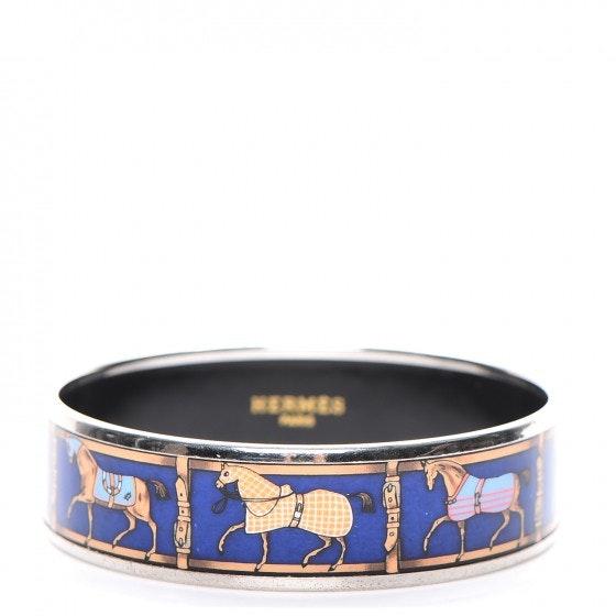 Hermes Bracelet Wide Horse Riding Motif Enamel Printed 65