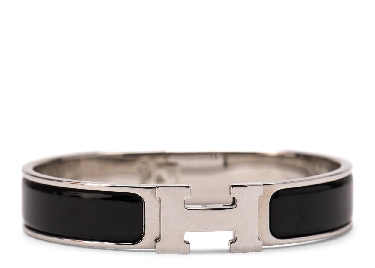 Hermes Clic Clac H Bracelet Enamel Narrow PM Noir