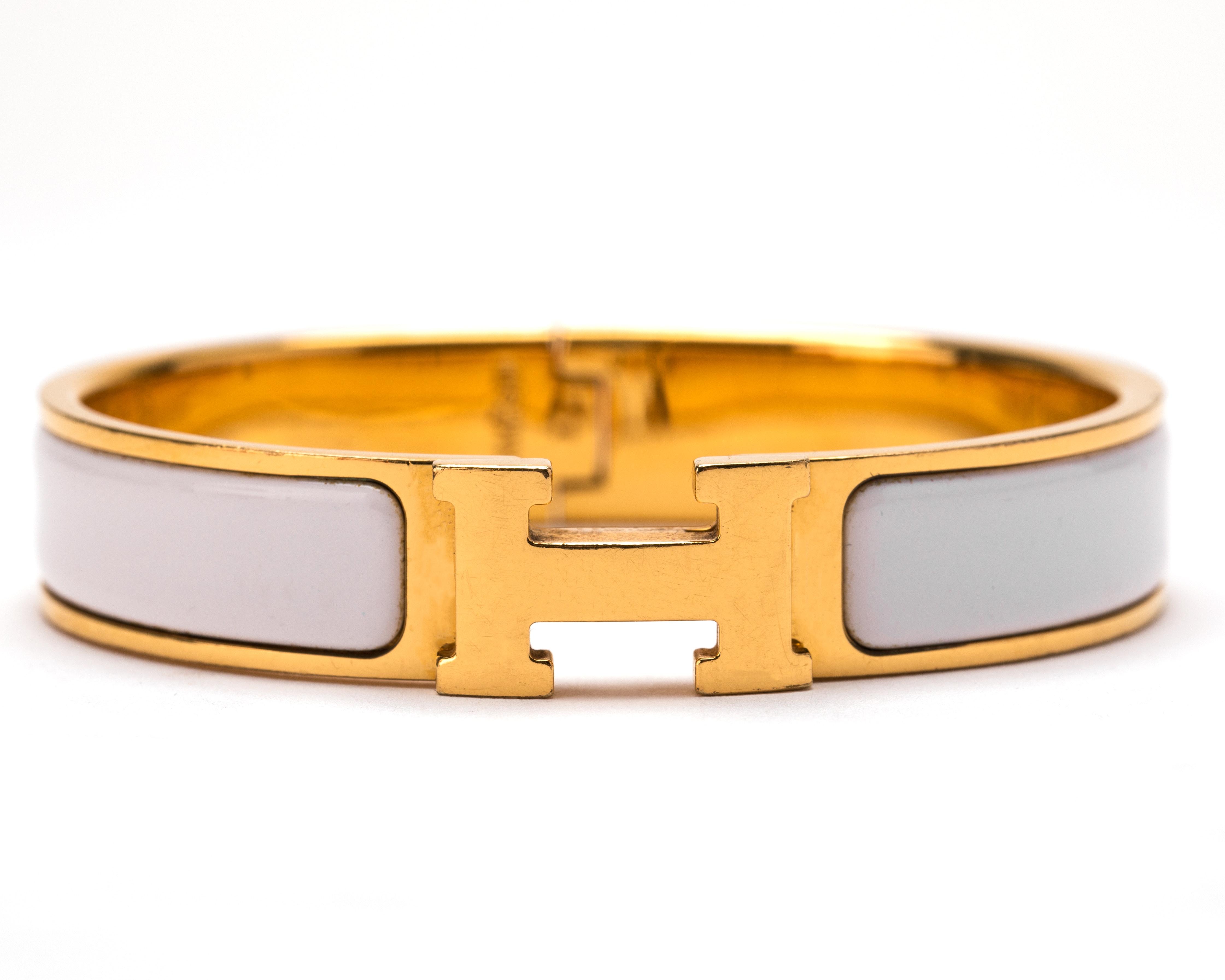 Hermes Clic Clac H Enamel  Narrow PM Gold/White