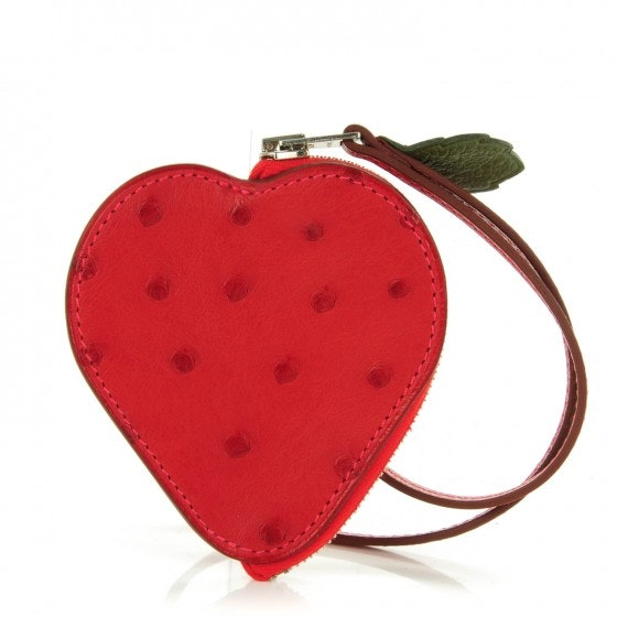 Hermes Coin Pouch Charm Tutti Frutti Strawberry Ostrich 3 IN Rouge Vif/Canopee