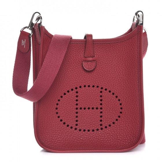 Hermes Evelyne Taurillon Clemence Amazone Strap Palladium-tone TPM Rouge Grenat