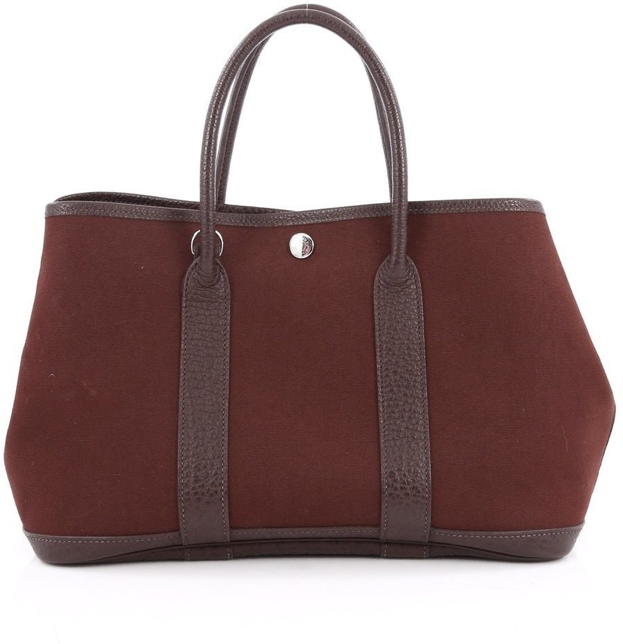 Hermes Garden Party Tote Toile,Leather 30 Marron Fonce/Brown