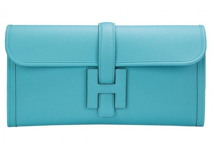Hermes Jige Clutch Swift 29 Blue Saint Cyr