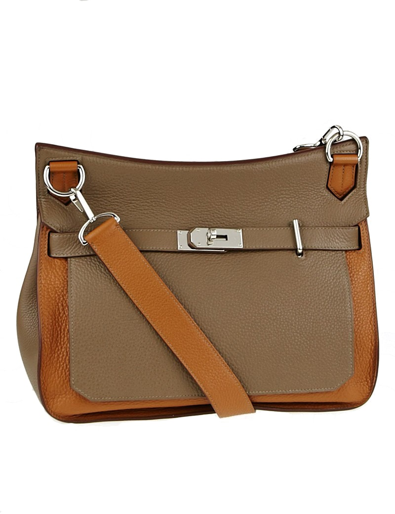 Hermes Jypsiere Bicolor Clemence 34 Gold/Etoupe