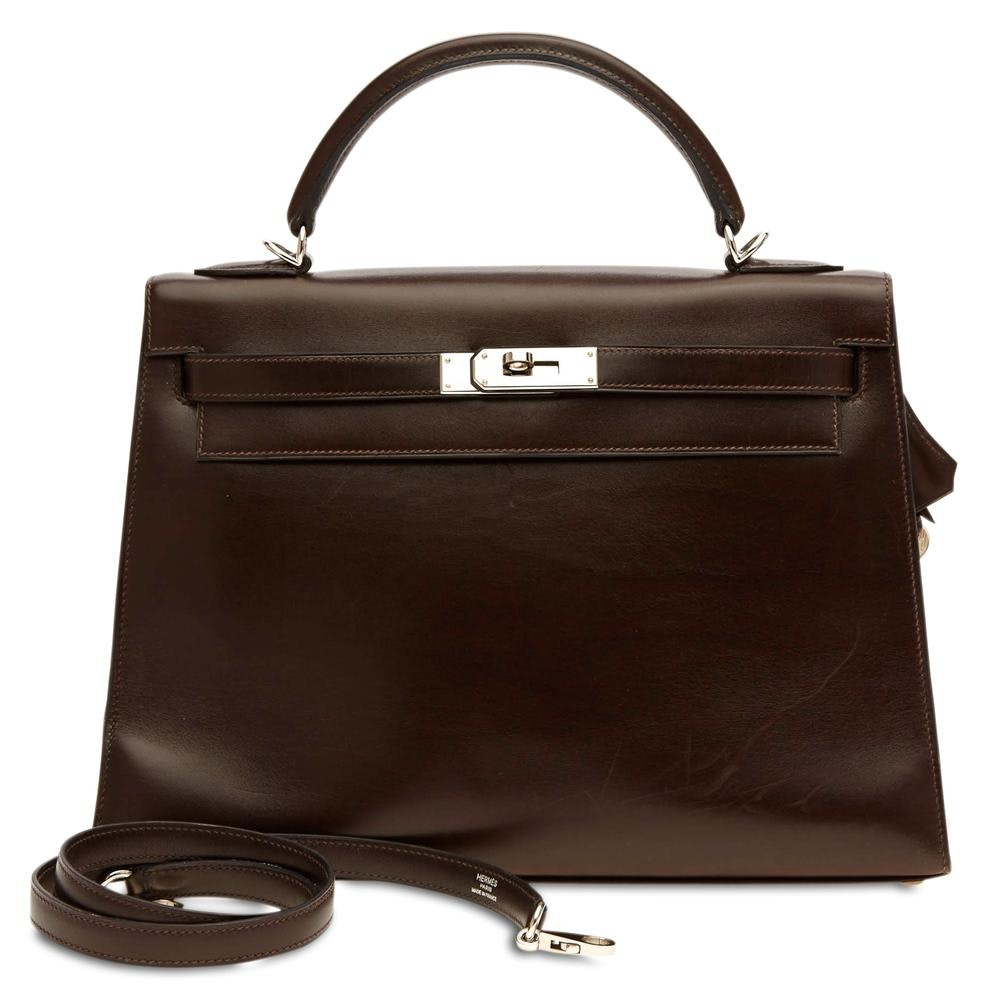 Hermes Kelly Box Calf 32 Dark Brown