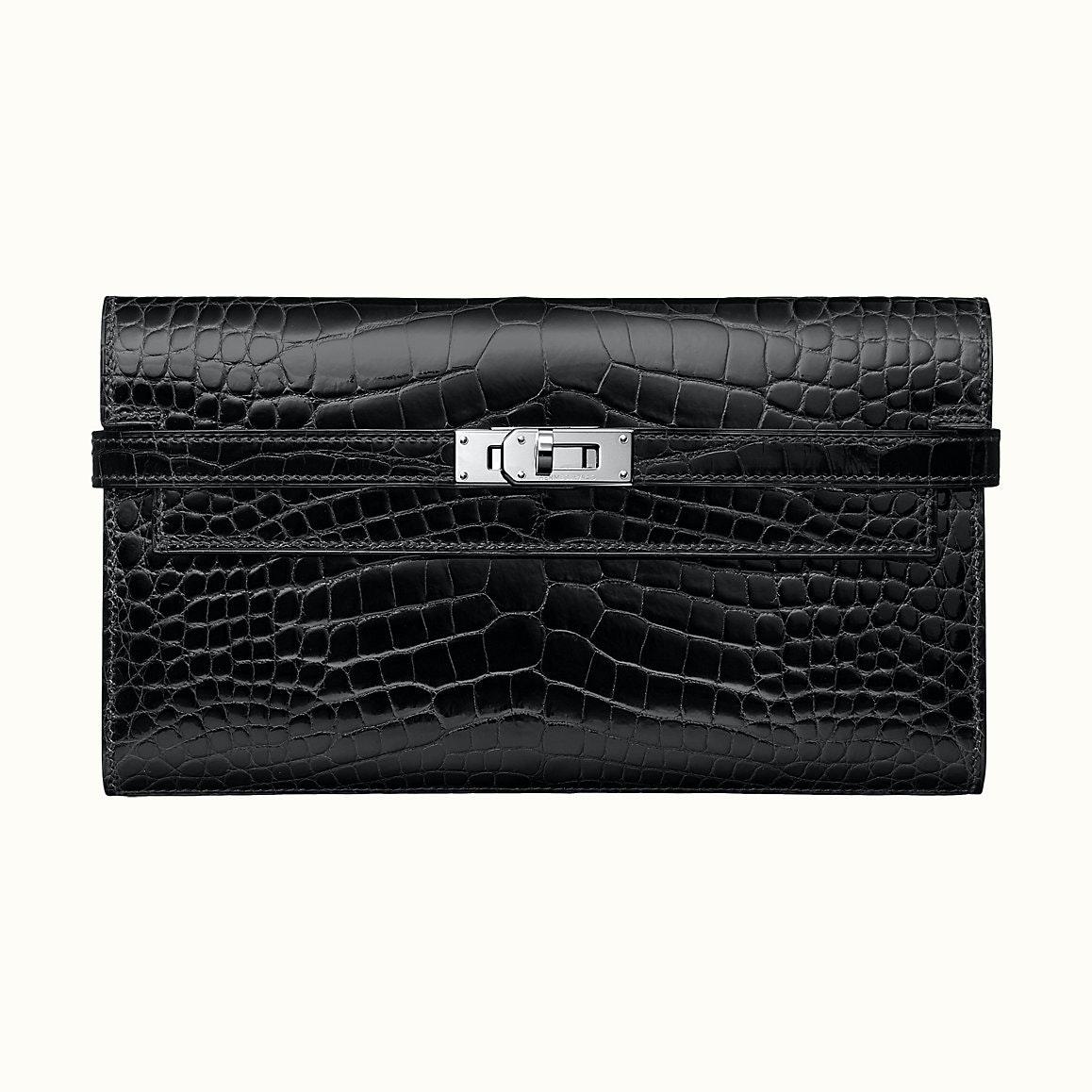 Hermes Kelly Classic Wallet Alligator Noir
