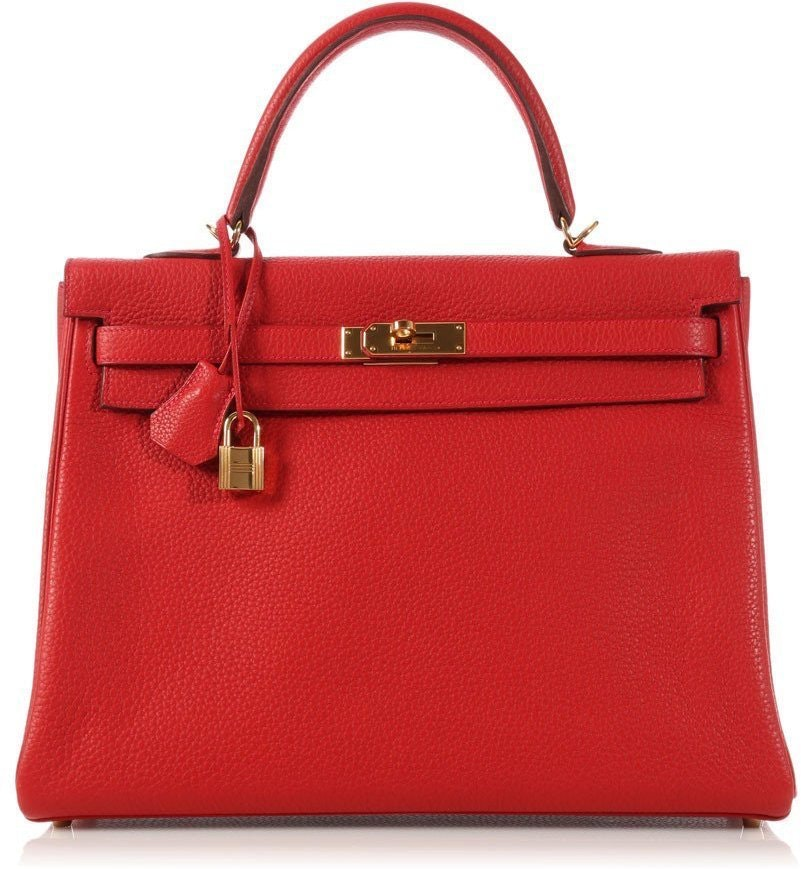 Hermes Kelly Clemence 35 Rouge Casaque