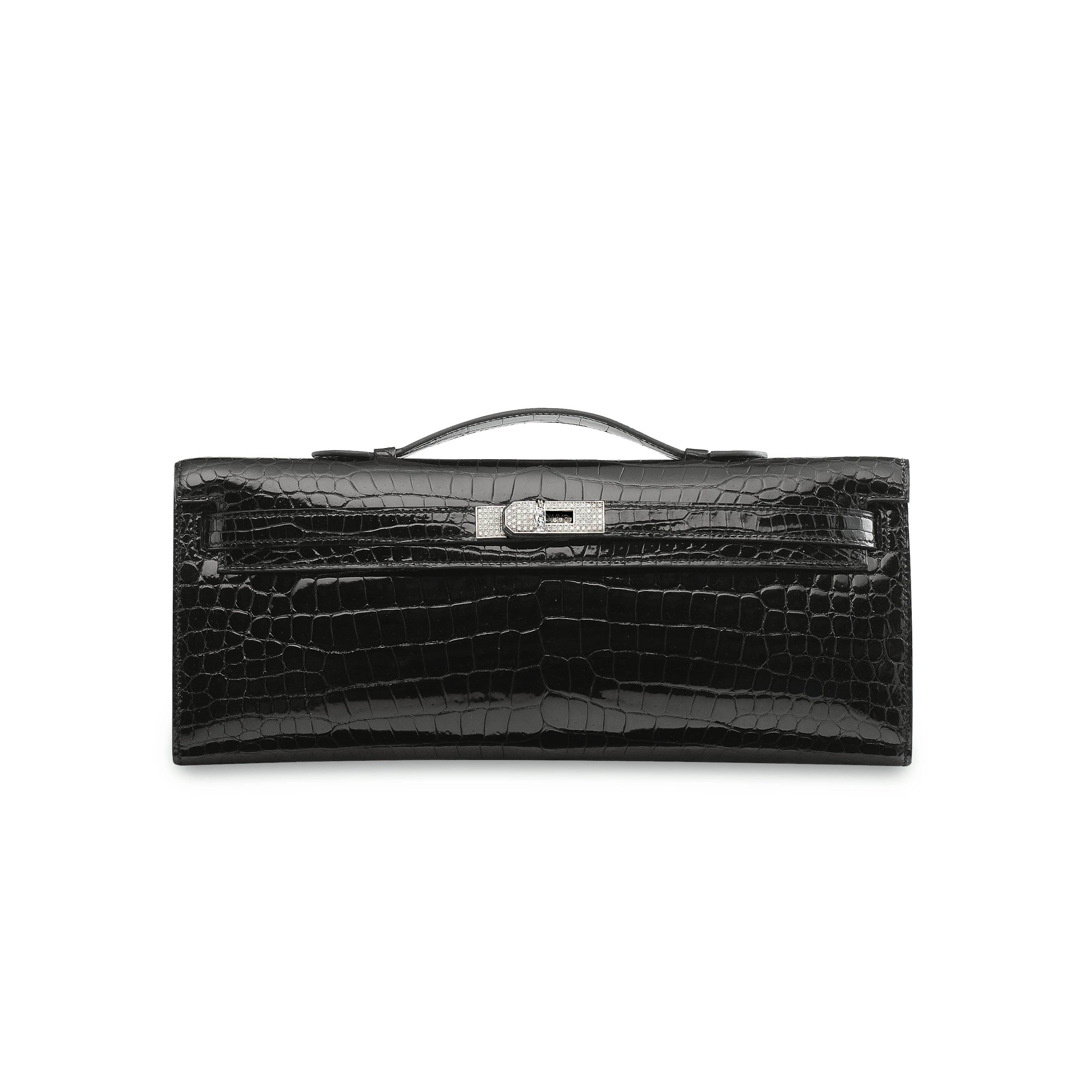 Hermes Kelly Clutch Crocodile Diamond Black