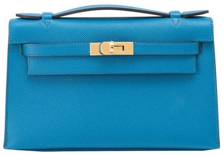 Hermes Kelly Clutch Pochette Epsom Blue Izmir