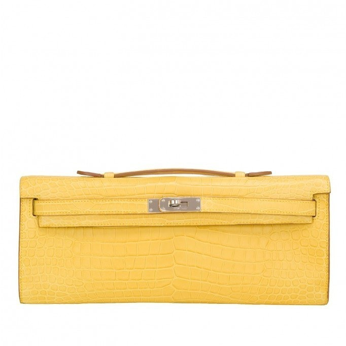 Hermes Kelly Cut Porosus Crocodile Matte Mimosa Leather