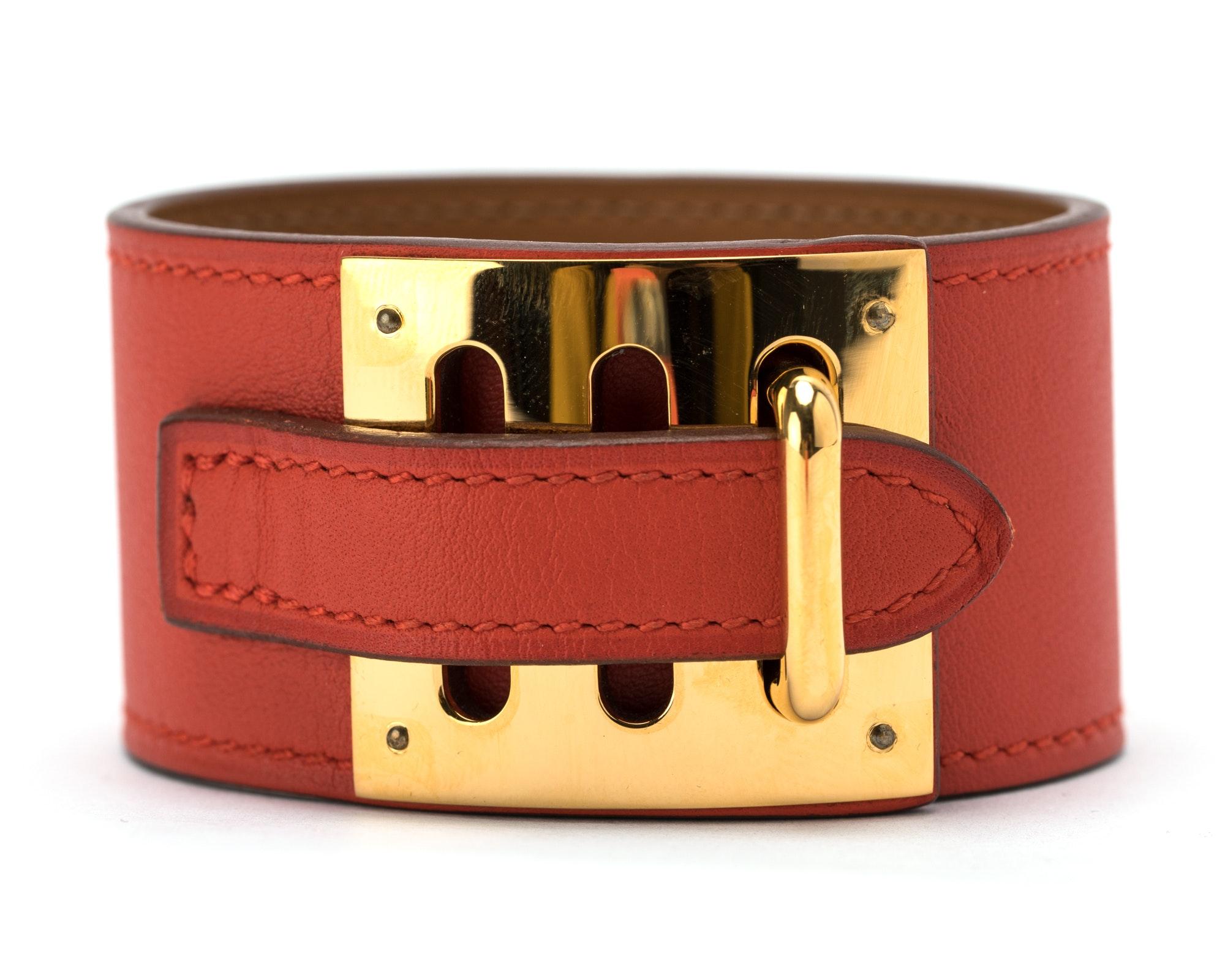 Hermes Kelly Dog Bracelet Cuff Swift Red