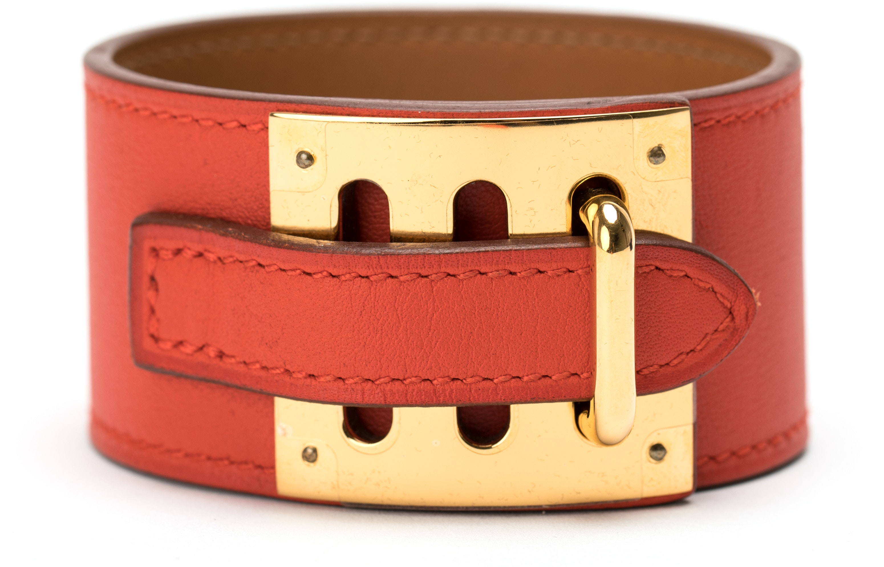 Hermes Kelly Dog Bracelet Cuff Swift Red