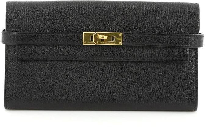 Hermes Kelly Long Wallet Chevre Mysore Black
