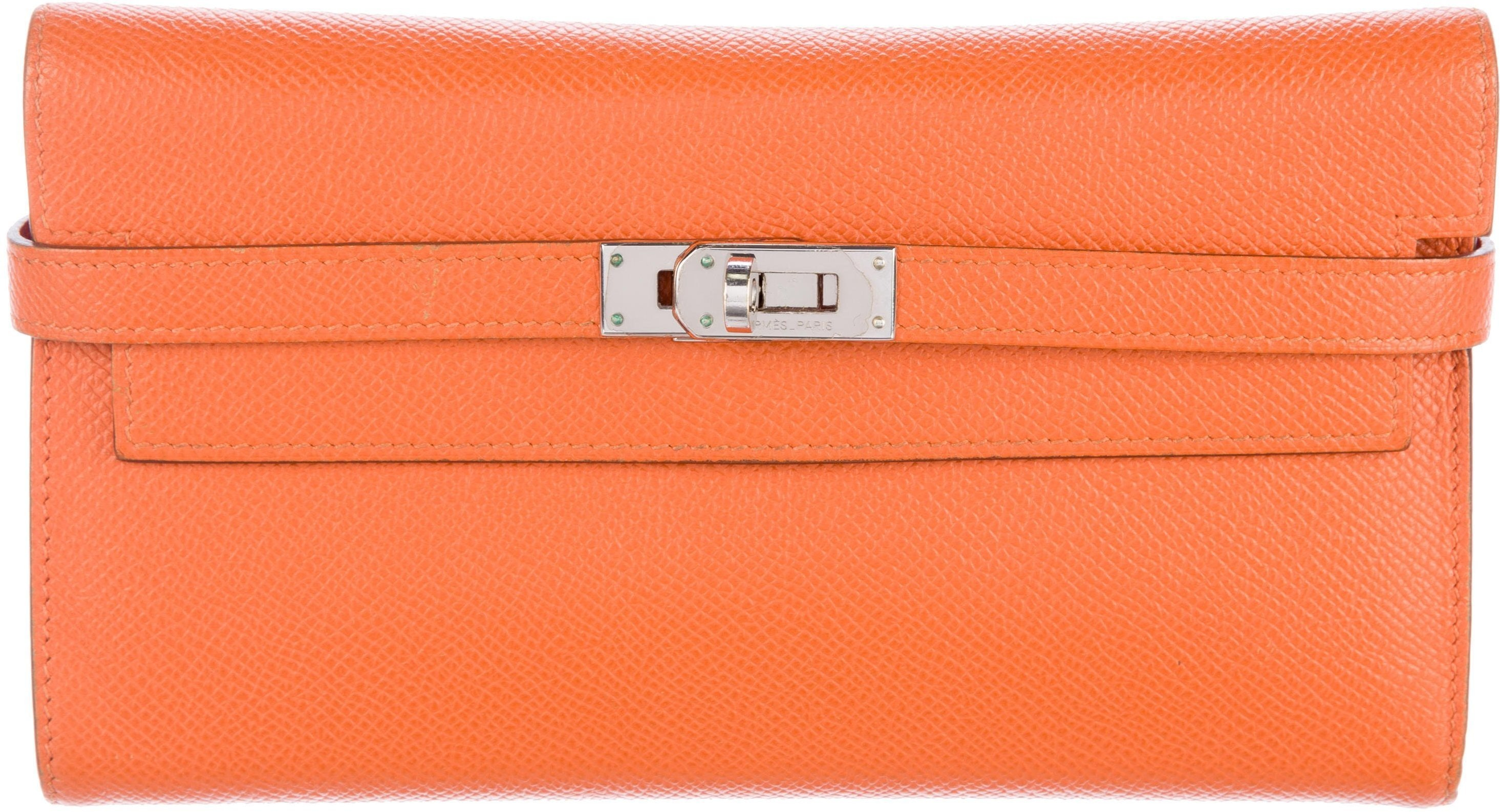 Hermes Kelly Classic Wallet Epsom Orange