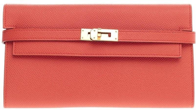 Hermes Kelly Long Wallet Epsom Rose/Jaipur