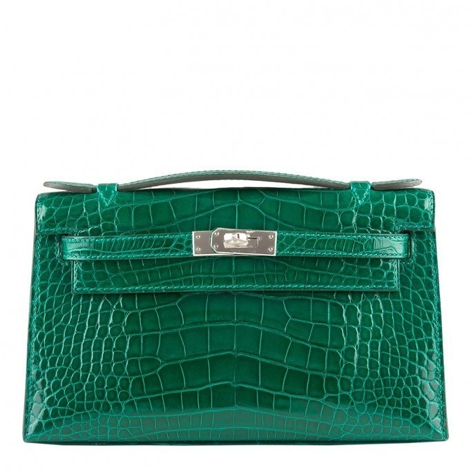 Hermes Kelly Pochette Shiny Alligator Emerald