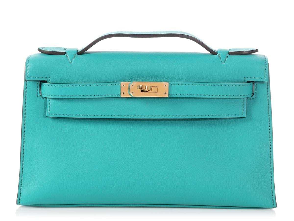 Hermes Kelly Pochette Swift Bleu Paon