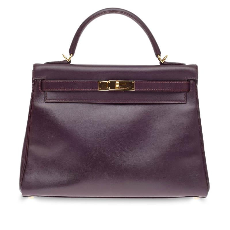 Hermes Kelly Retourne Box Calf 32 Raisin