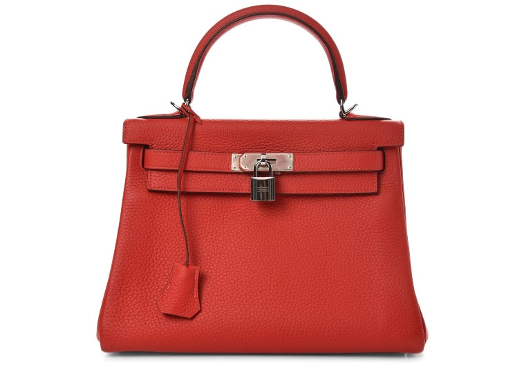Hermes Kelly Retourne Clemence 28 Rouge Tomate
