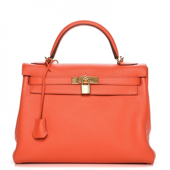 Hermes Kelly Retourne Taurillon Clemence 32 Orange Poppy