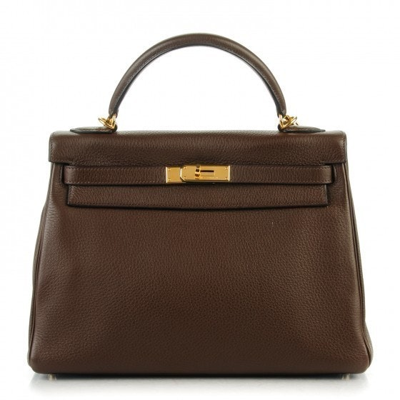 Hermes Top Handle Kelly Retourne Clemence 32 Chocolate