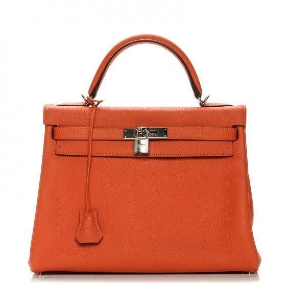 Hermes Top Handle Kelly Retourne Clemence 32 Feu Orange