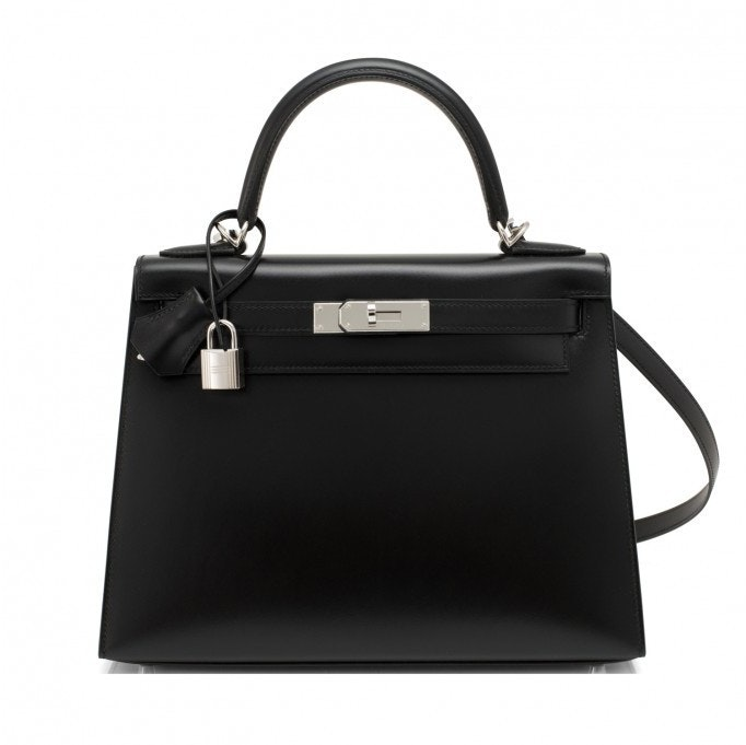 Hermes Kelly Sellier Box Calf 28 Noir