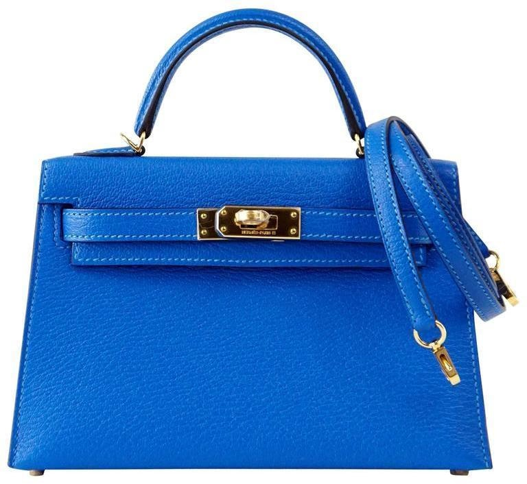 Hermes Kelly Sellier Chevre 20 Blue Hydra