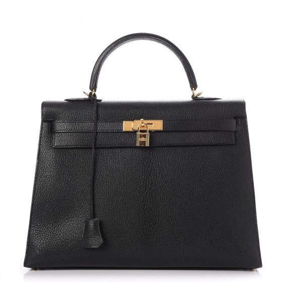 Hermes Kelly Sellier Chevre De Coromandel Gold-tone 35 Black