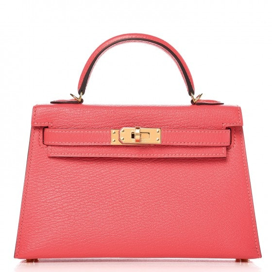 Hermes Kelly Sellier Chevre Mysore Gold-tone 20 Rose Lipstick