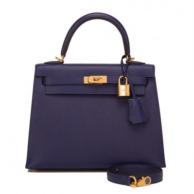 Hermes Kelly Sellier Epsom 25 Bleu Saphir
