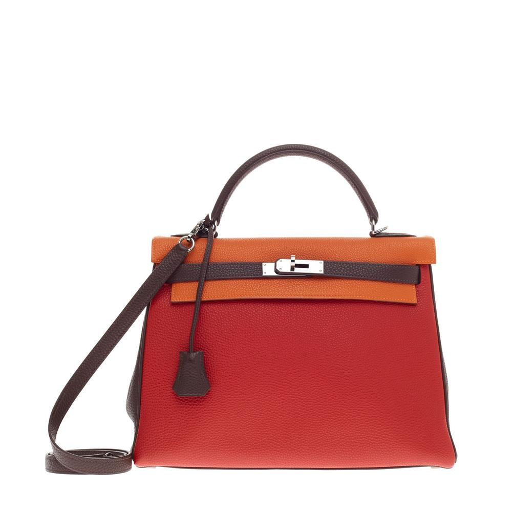 Hermes Kelly Tricolor Togo 32 Blood Orange/Tangerine/Chocolat