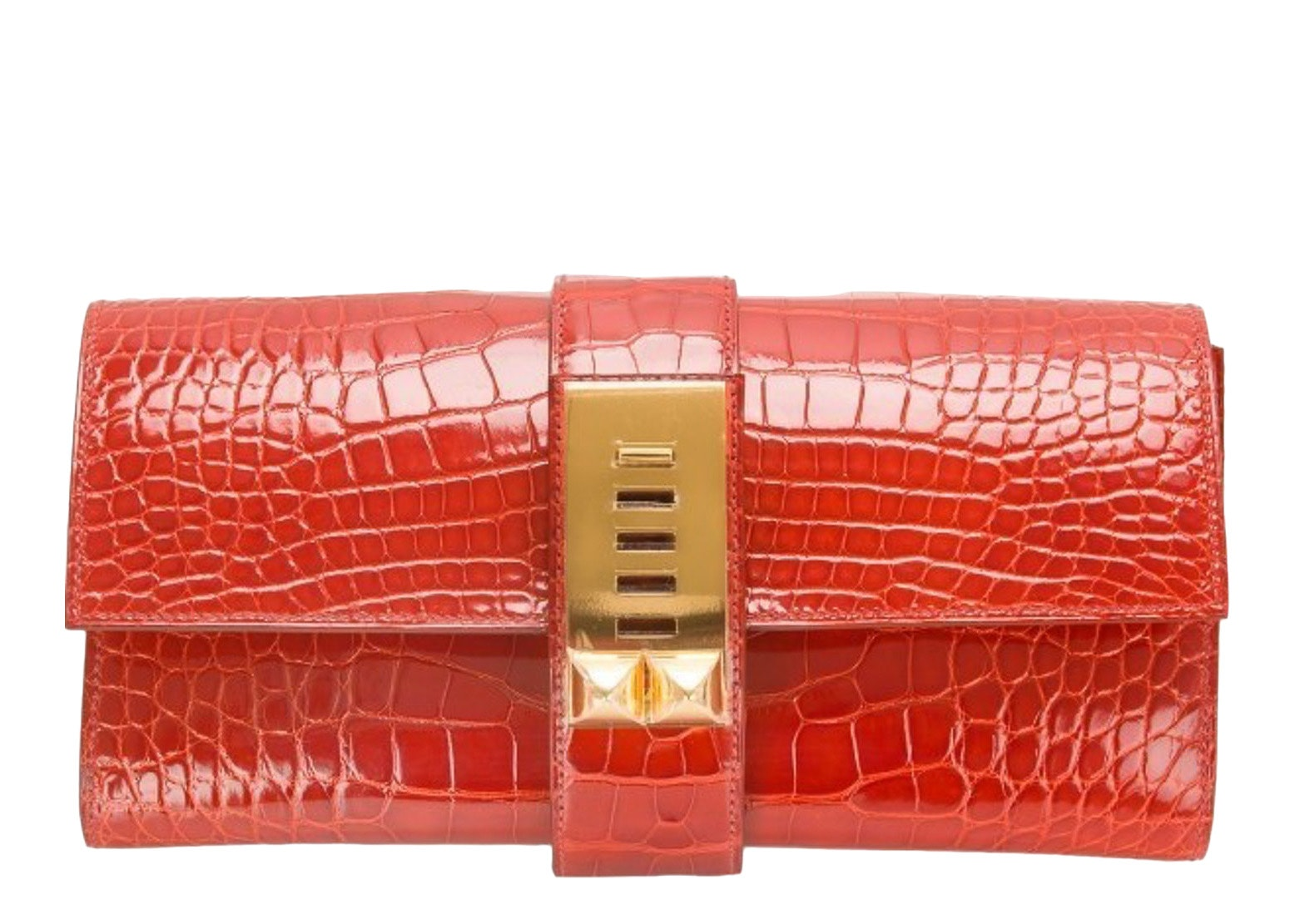 Hermes Medor Clutch Shiny Alligator 23 Sanguine