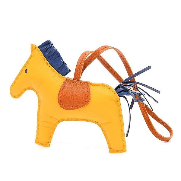 Hermes Bag Charm Milo Rodeo MM Golden Yellow/Agate Blue/Cornelian