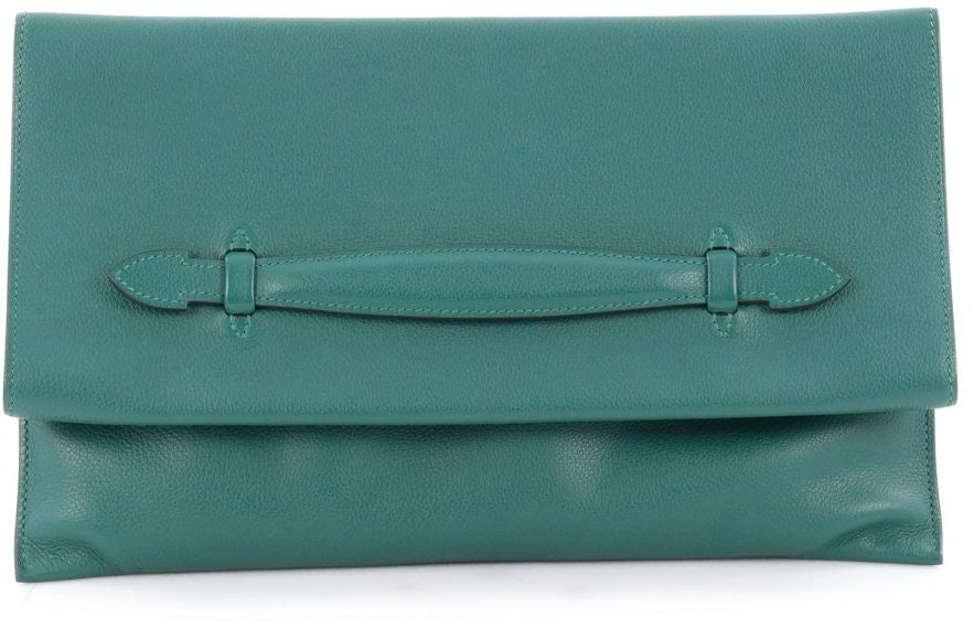 Hermes Clutch Pliplat Evercolor Malachite