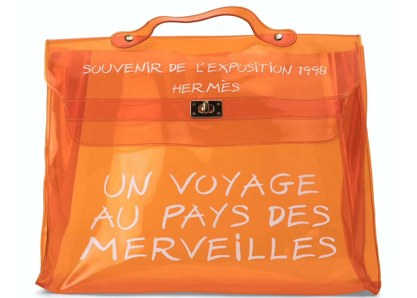 9ea69ce83a0b Hermes Vintage 1997 Kelly Souvenir De L Exposition Vinyl Transparent  Orange. Souvenir De L Exposition Vinyl Transparent Orange
