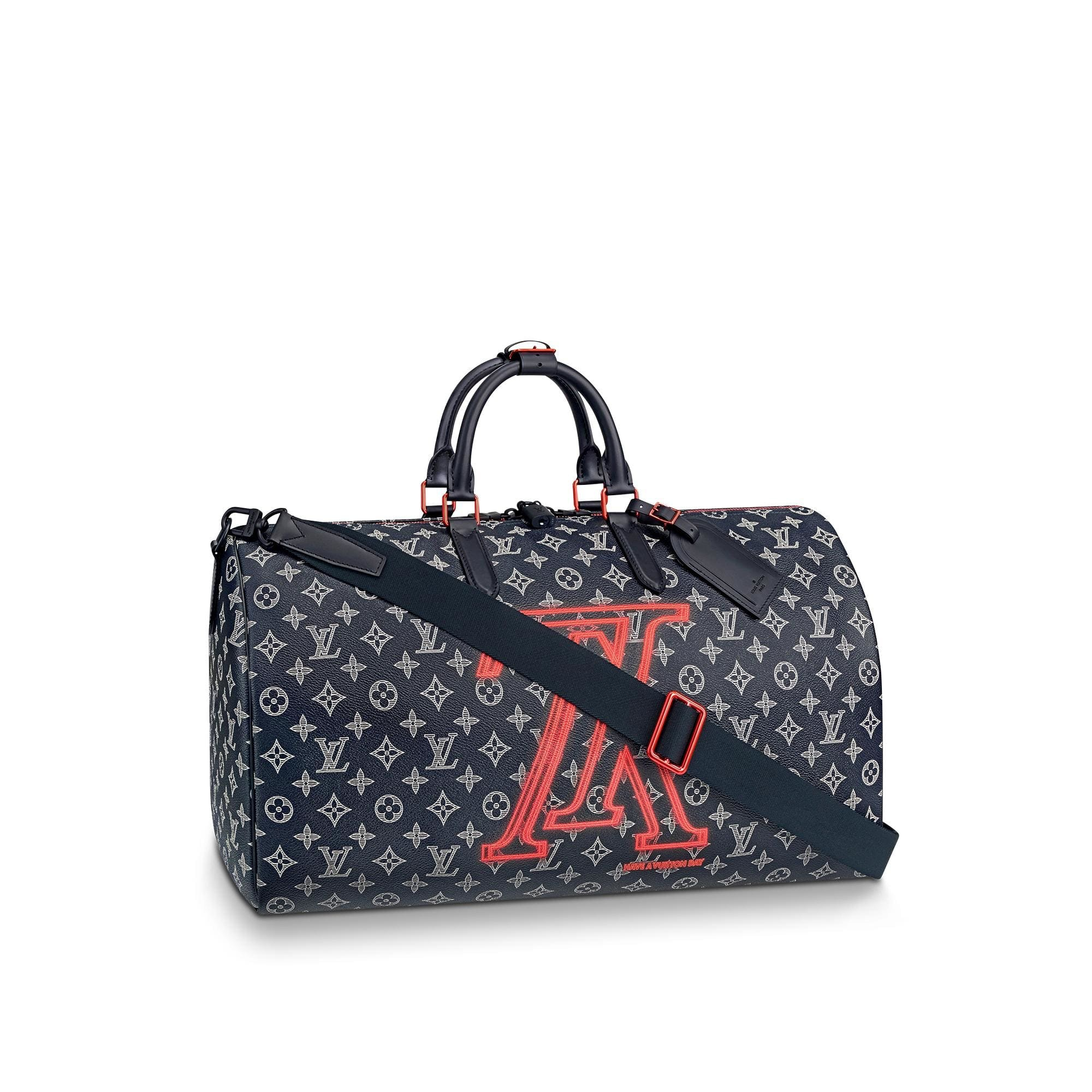 Louis Vuitton 50 Keepall Bandouliere Monogram Upside Down Ink Navy