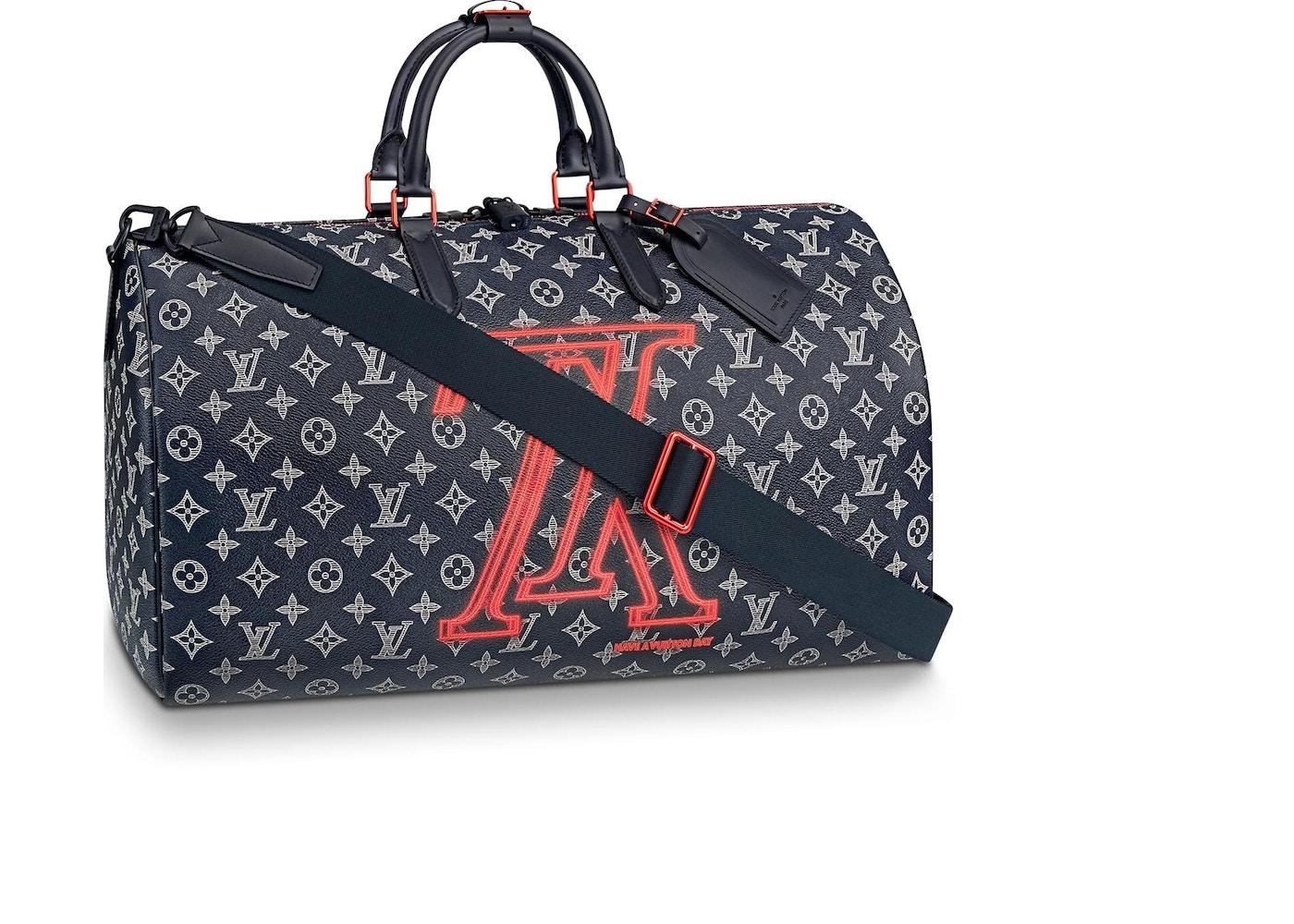Louis Vuitton 50 Keepall Bandouliere Monogram Upside Down Ink Navy. Monogram  Upside Down Ink Navy ca24e1a4d8da8