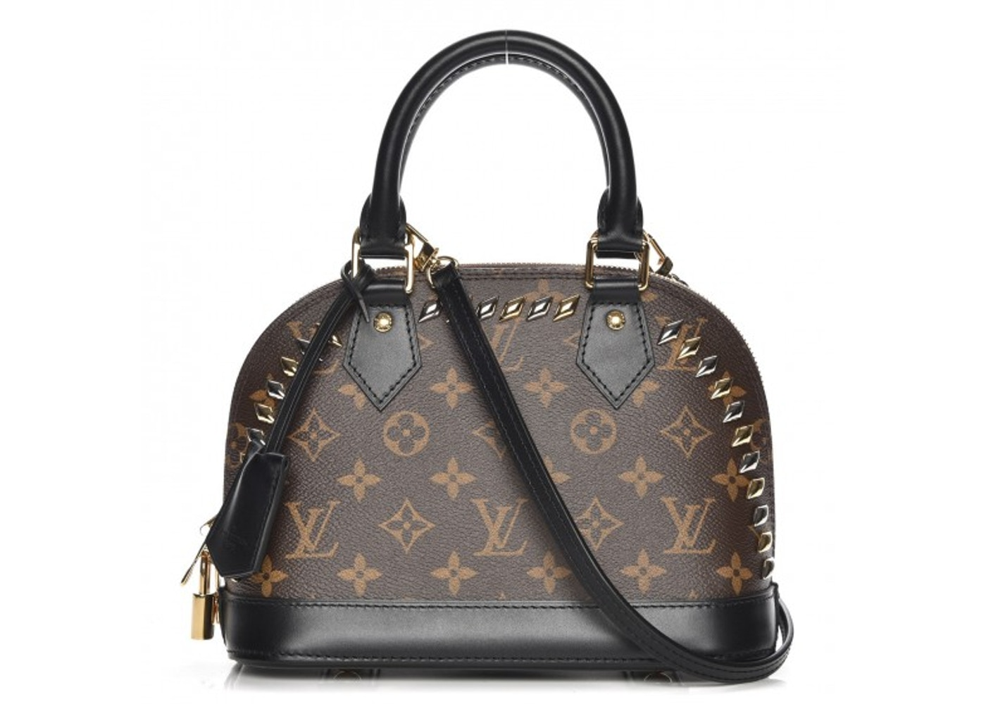 Louis Vuitton Alma Monogram Macassar Studded Bb Brown Black