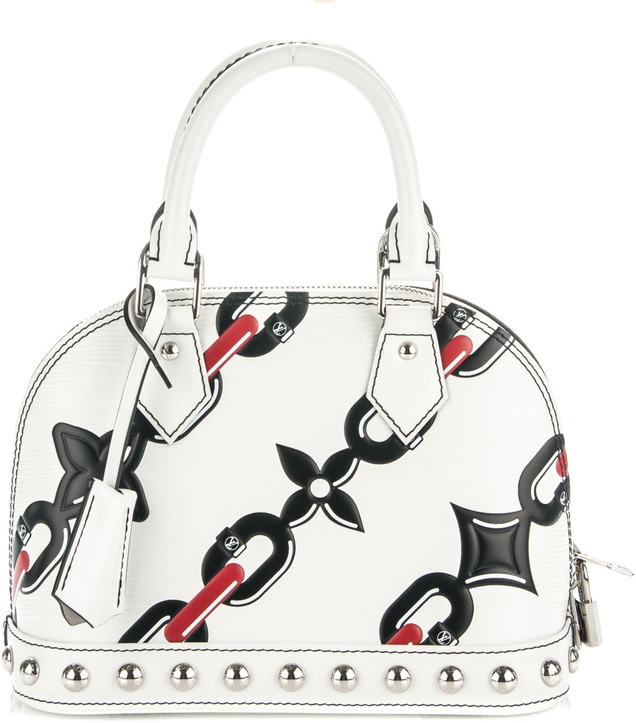 Louis Vuitton Alma Epi Chain Flower Bb White In White,Black,Red