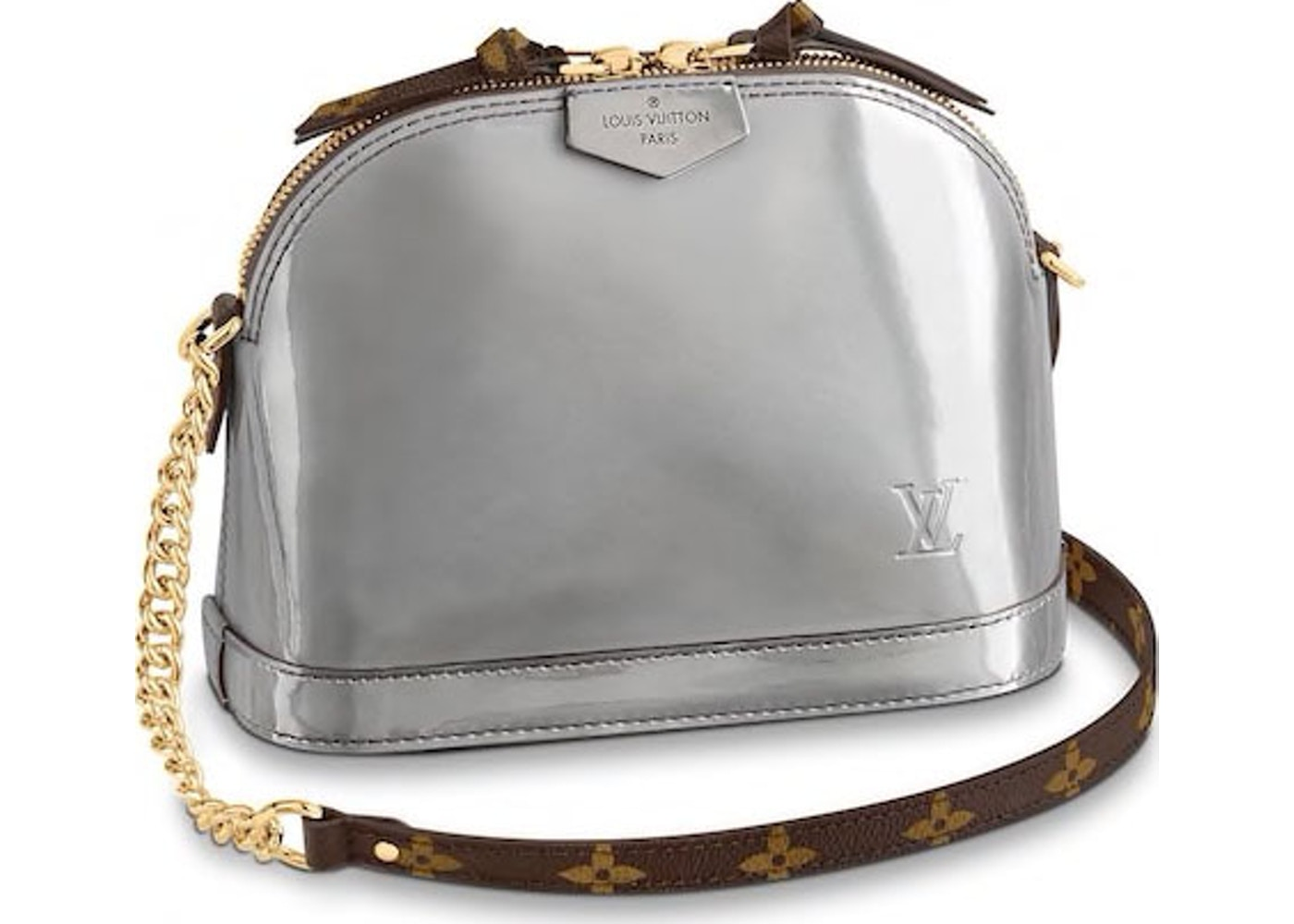 763cb3a55e Louis Vuitton Alma Monogram Vernis Miroir Mini Gris Metal. Monogram Vernis  Miroir Mini Gris Metal