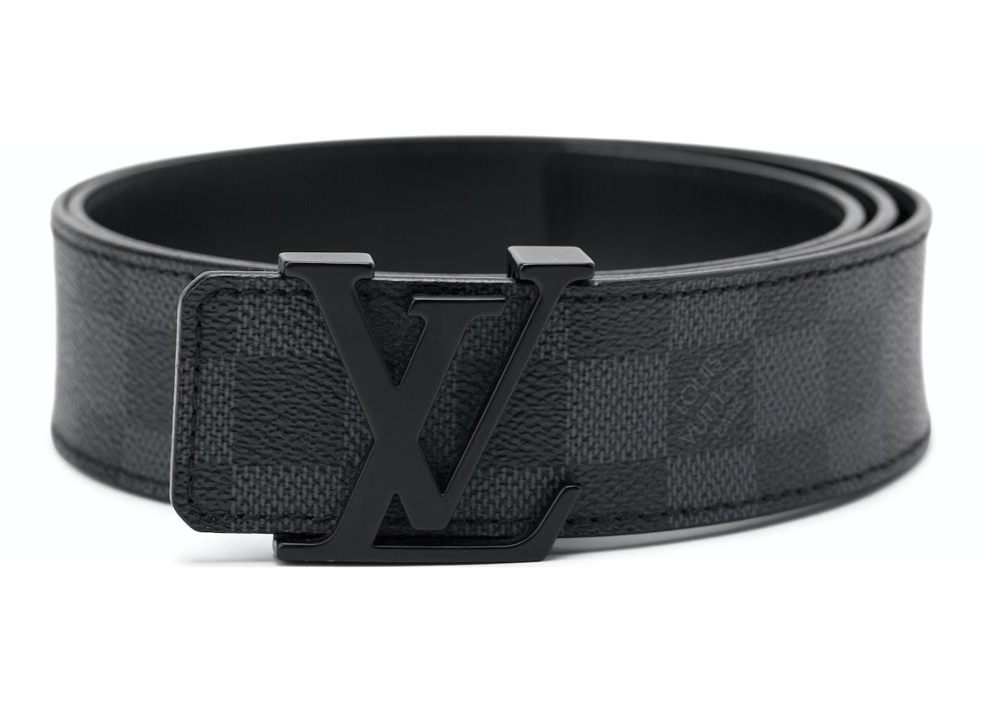 36892f1c0765 Louis Vuitton Belt Initiales Damier Graphite Black Grey. Damier Graphite  Black Grey