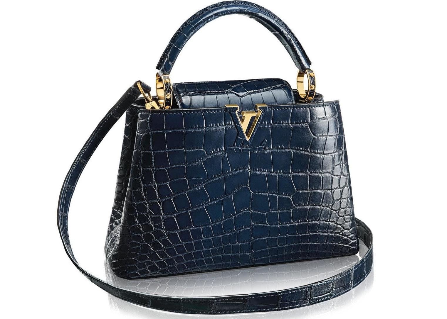 Louis Vuitton Capucines Crocodile Brillant Gold-tone BB Navy