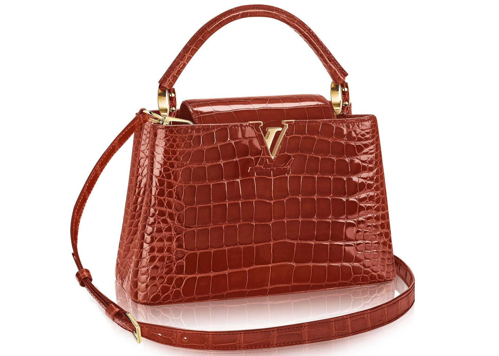 Louis Vuitton Capucines Crocodile Brillant Gold-tone PM Fauve