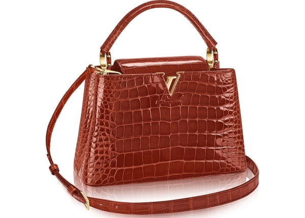 18c75d2bb3ef Louis Vuitton Capucines Crocodile Brillant Gold-tone PM Fauve