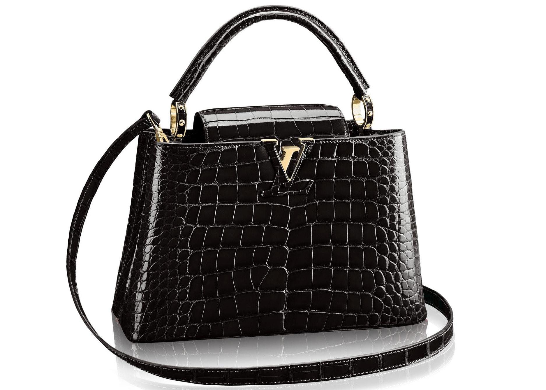 Louis Vuitton Capucines Crocodile Brillant Gold-tone PM Noir