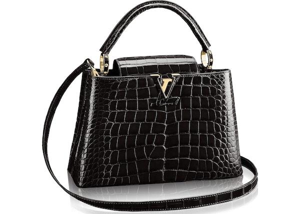 86ca560ca679 Louis Vuitton Capucines Crocodile Brillant Gold-tone PM Noir