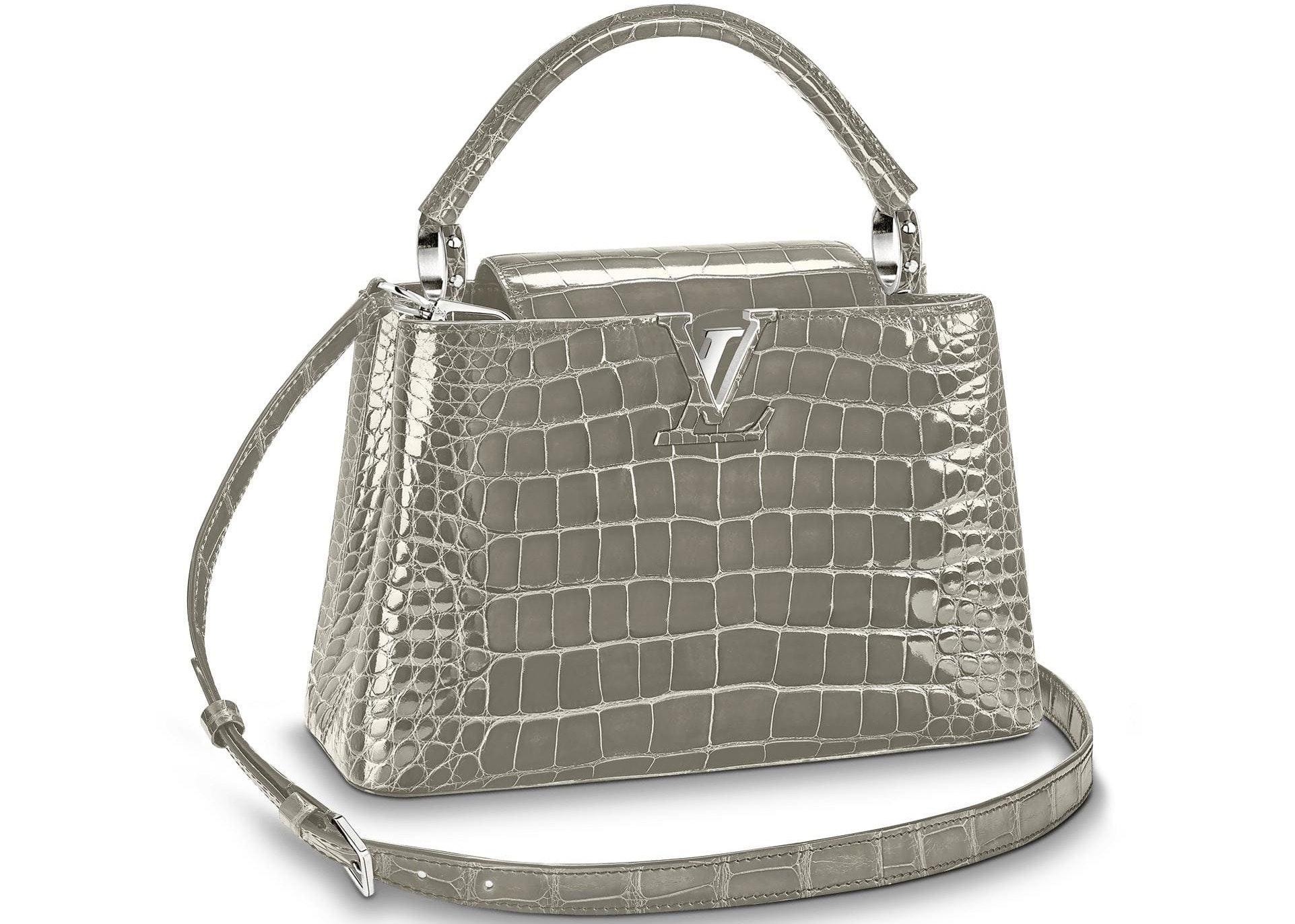 Louis Vuitton Capucines Crocodile Brillant Silver-tone PM Gris Perle