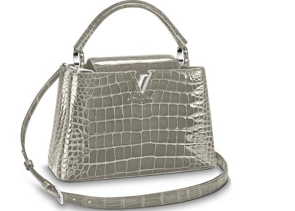 76ce44aeff1b Louis Vuitton Capucines Crocodile Brillant Silver-tone PM Gris Perle