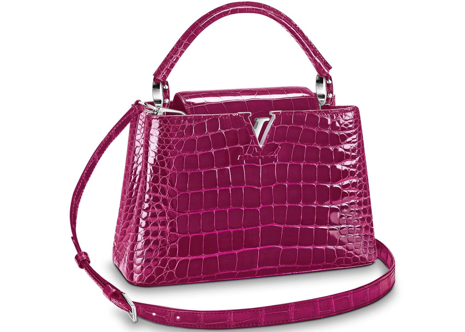 Louis Vuitton Capucines Crocodile Brillant Silver-tone PM Raisin